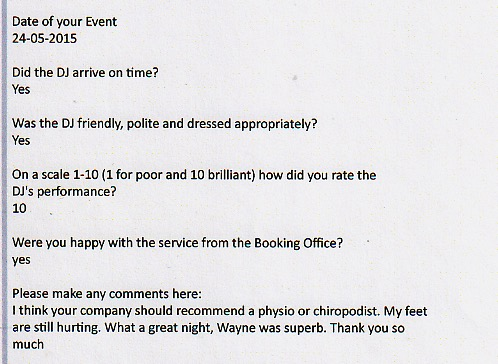DJ Wayne Smooth excellent Wedding Testimonials