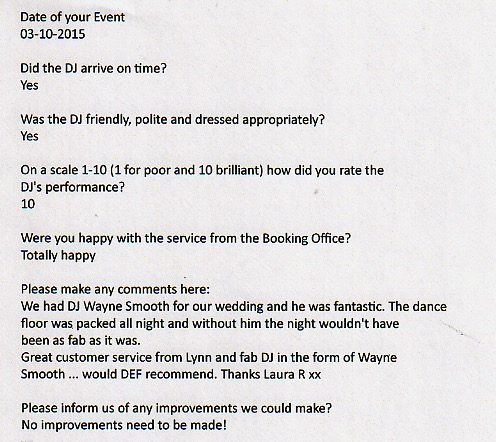 Top 10 DJ Wayne Smooth Wedding Testimonials