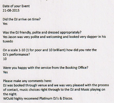 Wedding Testimonials for The Tudor Park Marriott with DJ Jason Dupuy