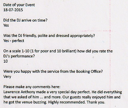 Wedding Testimonials - Review for DJ Lawrence Anthony August