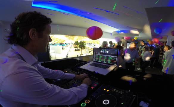 In London with DJ Jason Dupuy performing for a Corporate Event.